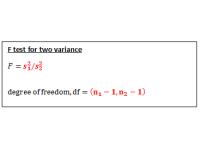 F test for Variance