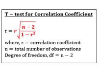 Correlation Coefficient (T Test Statistic)
