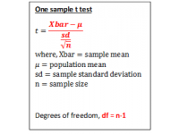 T test for one sample (Test Statistic)