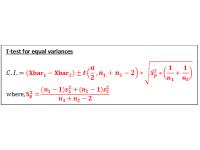 T test for independent samples (Confidence Interval using equal variances)