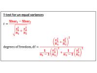 T test for independent samples (Test Statistic using un-equal variances)